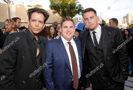 """Richard Grieco, and from left, Jonah Hill and Channing Tatum arrive at the premiere of """"22 Jump Street"""" at the Regency Village Theatre, in Los Angeles, Calif"""