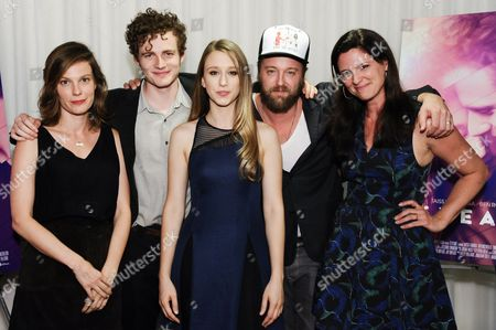 "Actors Lindsay Burdge, from left, Ben Rosenfield, Taissa Farmiga, Joshua Leonard and Jennifer Lafleur attend the LA premiere of ""6 Years"" held at ArcLight Cinemas Hollywood, in Los Angeles"