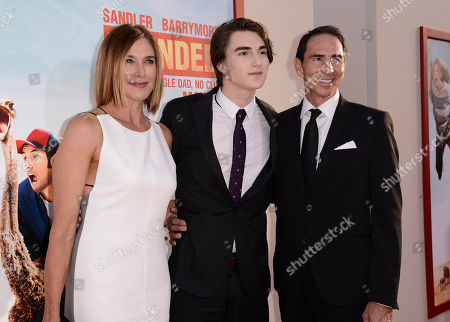 """From left, Brenda Strong, Zak Henri, and Tom Henri arrive at the LA Premiere of """"Blended"""" at the TCL Chinese Theatre, in Los Angeles"""