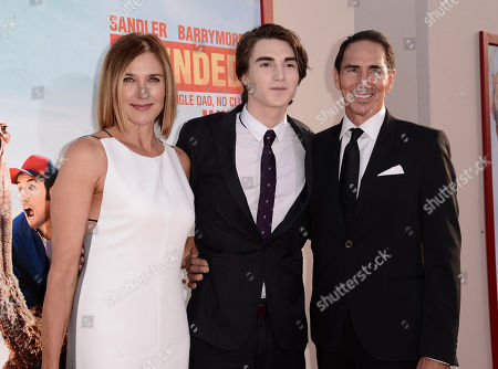 """Stock Image of From left, Brenda Strong, Zak Henri, and Tom Henri arrive at the LA Premiere of """"Blended"""" at the TCL Chinese Theatre, in Los Angeles"""