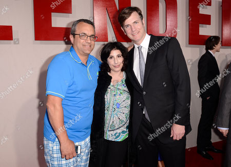 """Stock Photo of From left, producer Jack Giarraputo, Sue Kroll, president of worldwide marketing and international distribution for Warner Bros., and producer Mike Karz arrive at the LA Premiere of """"Blended"""" at the TCL Chinese Theatre, in Los Angeles"""