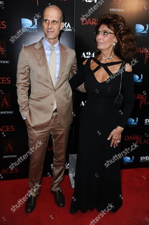 """Sophia Loren and Edoardo Ponti arrive at the LA Premiere of """"Dark Places"""" held at Harmony Gold Theater on in Los Angeles"""