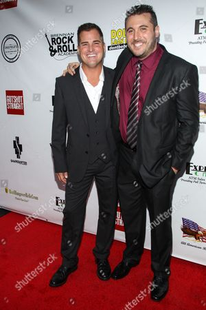 """From left, actor George Eads and director Justin Steele arrive at the premiere of """"Gutshot Straight"""" on in Los Angeles"""