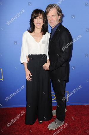 """Actors William H. Macy, right, and Joan Allen arrive at the LA Premiere of """"Room"""" held at the Pacific Design Center, in West Hollywood, Calif"""
