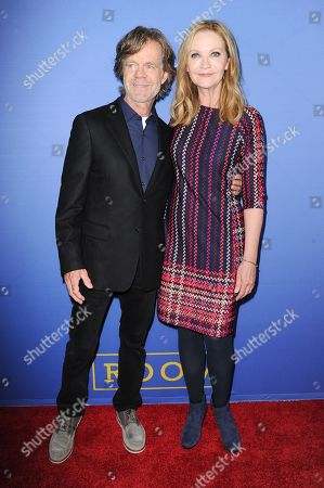 """Actors William H. Macy, left, and Joan Allen arrive at the LA Premiere of """"Room"""" held at the Pacific Design Center, in West Hollywood, Calif"""