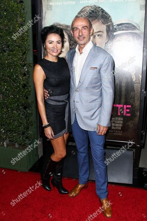 """Lorena Mendoza, left, and Shaun Toub attend the LA Premiere of """"Suffragette"""" held at Samuel Goldwyn Theater at AMPAS, in Beverly Hills, Calif"""