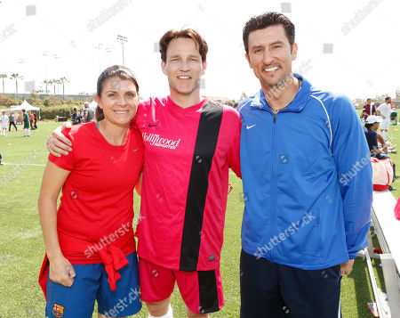 Mia Hamm, Stephen Moyer and Nomar Garciaparra attend the LAFEST LA Film and Entertainment Soccer Tournament, on in Carson, California