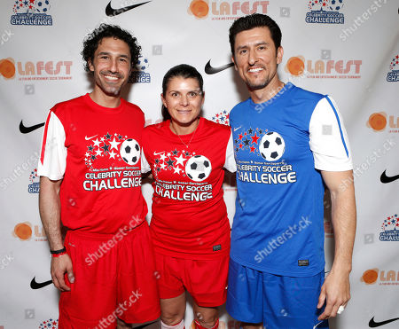 Ethan Zohn, Mia Hamm and Normar Garciaparra attend the LAFEST LA Film and Entertainment Soccer Tournament, on in Carson, California