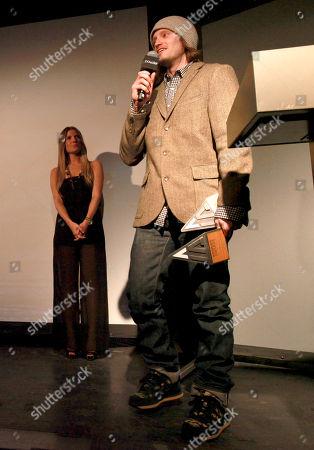 Level 1's Josh Berman, right, speaks onstage at Powder Magazine Awards at Park City Live Day 1, in Park City, Utah