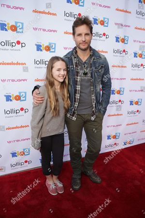 """Peter Facinelli and daughter Lola Ray Facinelli seen at Lollipop Theater Network's """"A Night Under the Stars"""" at Nickelodeon Animation Studios, in Burbank, CA"""