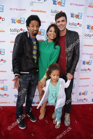 """Stock Image of Craig Frank, Ginger Gonzaga and Blake Lee seen at Lollipop Theater Network's """"A Night Under the Stars"""" at Nickelodeon Animation Studios, in Burbank, CA"""