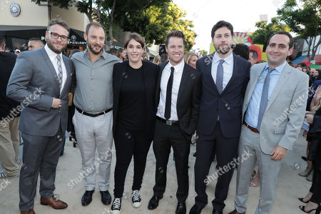 Seth Rogen, Writer/Producer Evan Goldberg, Producer Megan Ellison, Executive Producer/Writer Kyle Hunter, Executive Producer/Writer Ariel Shaffir and Executive Producer David Distenfeld seen at the Los Angeles Premiere of Columbia Pictures' SAUSAGE PARTY at the Regency Village Theater, in Los Angeles