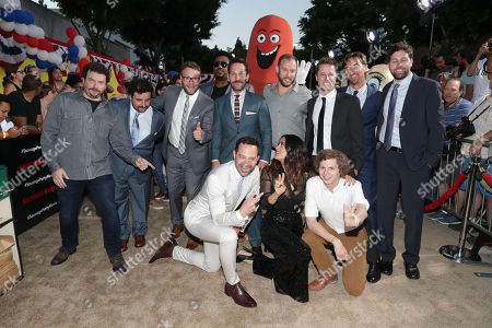 Danny McBride, David Krumholtz, Seth Rogen, Craig Robinson, Paul Rudd, Writer/Producer Evan Goldberg, Executive Producer/Writer Kyle Hunter, Executive Producer James Weaver, Executive Producer/Writer Ariel Shaffir, Nick Kroll, Salma Hayek and Michael Cera seen at the Los Angeles Premiere of Columbia Pictures' SAUSAGE PARTY at the Regency Village Theater, in Los Angeles