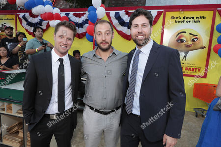 Executive Producer/Writer Kyle Hunter, Writer/Producer Evan Goldberg and Executive Producer/Writer Ariel Shaffir seen at the Los Angeles Premiere of Columbia Pictures' SAUSAGE PARTY at the Regency Village Theater, in Los Angeles