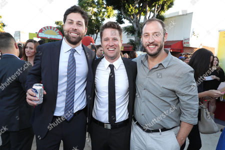 Executive Producer/Writer Ariel Shaffir, Executive Producer/Writer Kyle Hunter and Writer/Producer Evan Goldberg seen at the Los Angeles Premiere of Columbia Pictures' SAUSAGE PARTY at the Regency Village Theater, in Los Angeles