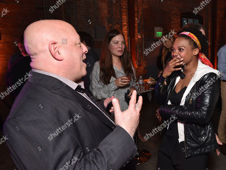 """Brian Michael Bendis, left, and Susan Heyward attend the Los Angeles premiere of PlayStation's original series """"Powers"""" at Sony Pictures Studios on . """"Powers"""" premieres March 10 on PlayStation Network"""