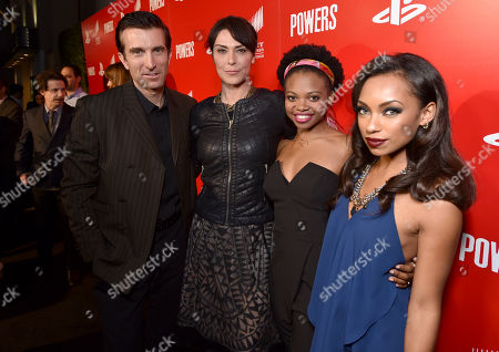 """IMAGE DISTRIBUTED FOR SONY PICTURES TELEVISION/PLAYSTATION - Sharlto Copley, from left, Michelle Forbes, Susan Heyward and Logan Browning attend the Los Angeles premiere of PlayStation's original series """"Powers"""" at Sony Pictures Studios on . """"Powers"""" premieres March 10 on PlayStation Network"""