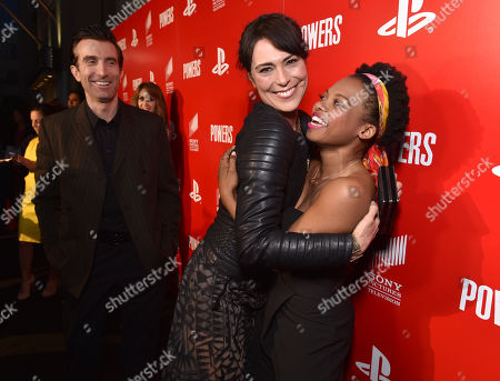 """Sharlto Copley, from left, Michelle Forbes and Susan Heyward attend the Los Angeles premiere of PlayStation's original series """"Powers"""" at Sony Pictures Studios on . """"Powers"""" premieres March 10 on PlayStation Network"""