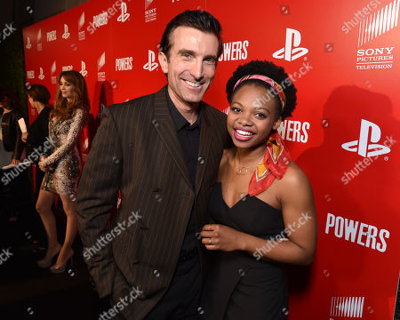 """Sharlto Copley, left, and Susan Heyward attend the Los Angeles premiere of PlayStation's original series """"Powers"""" at Sony Pictures Studios on . """"Powers"""" premieres March 10 on PlayStation Network"""