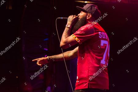 Stalley performs on stage at the House of Blues on in Los Angeles, Calif