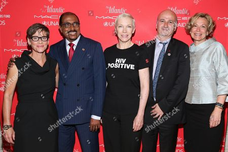 """Stock Photo of Nancy Mahon, Global Executive Director of the MAC AIDS Fund, Michel Sidibé, Executive Director of UNAIDS, Annie Lennox, Singer, Songwriter, Activist and UNAIDS Global Goodwill Ambassador, Bernard Jomier: Deputy Mayor of Paris, Ambassador Debbie Birx, U.S. Global AIDS Coordinator, PEPFAR at """" The Problem Solvers: Cities on the Front Lines of HIV/AIDS"""", an Atlantic Forum presented by the MAC AIDS Fund and UNAIDS"""" on in New York"""