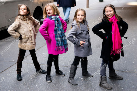"From left, Oona Laurence, Milly Shapiro, Sophia Gennusa and Bailey Ryon, the four actresses who will share the starring role in ""Matilda the Musical"" on Broadway, pose for a portrait outside the Shubert Theatre, on in New York"