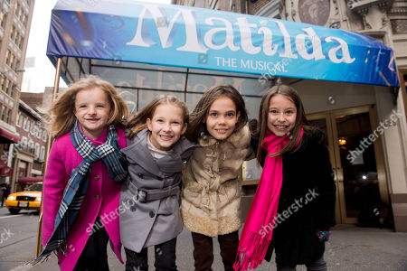 "From left, Milly Shapiro, Sophia Gennusa, Oona Laurence and Bailey Ryon, the four actresses who will share the starring role in ""Matilda the Musical"" on Broadway, pose for a portrait outside the Shubert Theatre, on in New York"