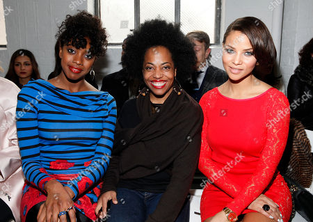 From left, Condola Rashad, Rhonda Ross and Denise Vasi attend the Tracy Reese 2014 Fall/Winter Collection during Mercedes Benz Fashion Week, in New York
