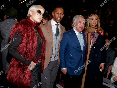 Stock Photo of Rita Ora, from left, Victor Cruz, Robert Kraft and Dee Ocleppo attend the Tommy Hilfiger Fall 2015 show during Mercedes-Benz Fashion Week Fall 2015 at The Park Avenue Armory, in New York