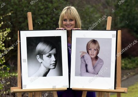 Twiggy With 1966 Portrait By Barry Latigan And 2001 Portrait By Brian Aris In A Celebration Of Her Career As A Model. She Was At A Special Reception In Central London Friday February 16 2001 Where She Was Honoured By Cosmetic Executive Women Uk.