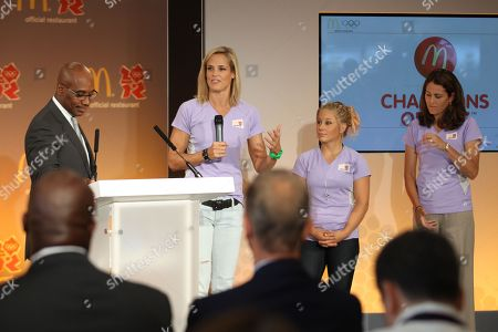 Left to right, Kevin Newell, Dara Torres, Shawn Johnson and Julie Foudy attend McDonald's London 2012 Olympic Games Press Event, in London, England