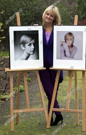 Stock Image of Twiggy With 1966 Portrait By Barry Latigan And 2001 Portrait By Brian Aris In A Celebration Of Her Career As A Model. She Was At A Special Reception In Central London Friday February 16 2001 Where She Was Honoured By Cosmetic Executive Women Uk.