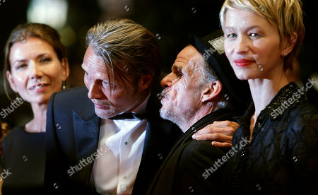 From right, actors Delphine Chuillot, Denis Lavant, Mads Mikkelsen and his wife Hanne Jacobsen for the screening of Michael Kohlhaas at the 66th international film festival, in Cannes, southern France