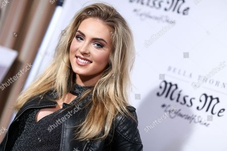 Saxon Sharbino attends the Miss Me Spring Campaign Launch Event held at The Terrace at Sunset Tower Hotel, in Los Angeles