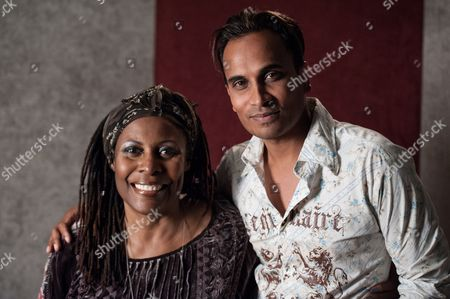 """Stock Photo of Brenda Russell, left, and Reggie Benjamin attend Reggie Benjamin's """"Mission Save Her"""" recording session, in Los Angeles"""