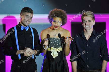 Presenters Tyler Gregory, Lela Brown and Scott Hannah are seen at the No Bull 2014 Teen Video Awards at The Westin Hotel on in Los Angeles, California