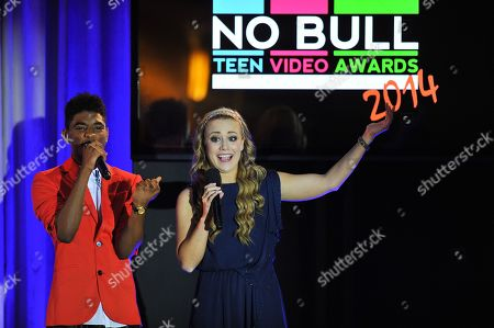 IMAGE DISTRIBUTED FOR NO BULL - Show hosts Nadji Jeter (L) and Nicole Edgington are seen at the No Bull 2014 Teen Video Awards at The Westin Hotel on in Los Angeles, California