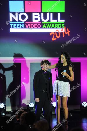 Actor Sloane Siegal and artist Lexi Noel are seen at the No Bull 2014 Teen Video Awards at The Westin Hotel on in Los Angeles, California