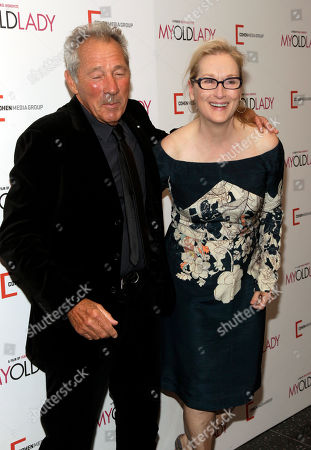 """Israel Horovitz, left, and Meryl Streep, right, attend the New York premiere of """"My Old Lady"""" on in New York"""