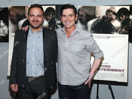 """Kyle Patrick Alvarez, left, and Billy Crudup, attend the """"The Stanford Prison Experiment"""" premiere at the Bow Tie Chelsea Cinemas, in New York"""