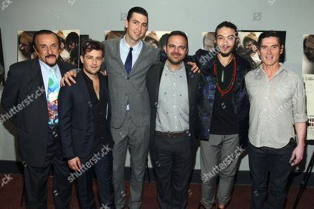 """Dr. Philip Zimbardo, from left, Michael Angarano, Nicholas Braun, Kyle Patrick Alvarez, Ezra Miller and Billy Crudup attend the """"The Stanford Prison Experiment"""" premiere at the Bow Tie Chelsea Cinemas, in New York"""
