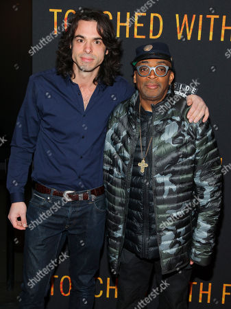 """Paul Dalio, left, and Spike Lee, right, attend the premiere of """"Touched With Fire"""" at the Walter Reade Theatre, in New York"""