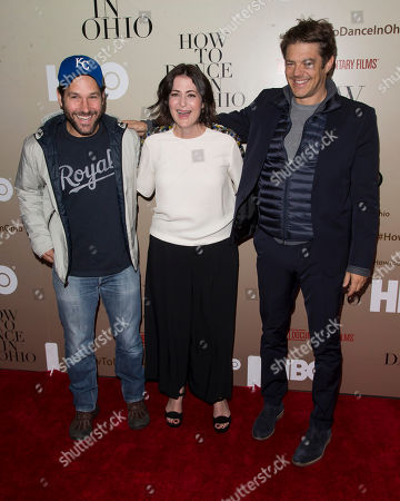 """Paul Rudd, Alexandra Shiva and Executive Producer Jason Blum attend the premiere of HBO's """"How To Dance In Ohio"""" at the Time Warner Center, in New York"""