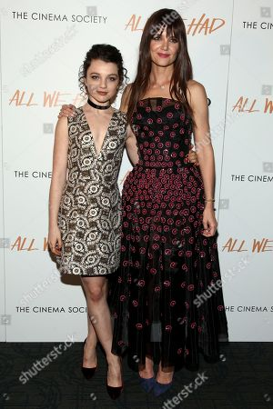 "Stefania Owen, left, and Katie Holmes, right, attend a special screening of ""All We Had"", hosted by The Cinema Society and Ruffino, at the Landmark Sunshine Cinema, in New York"