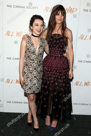 """Stock Photo of Stefania Owen, left, and Katie Holmes, right, attend a special screening of """"All We Had"""", hosted by The Cinema Society and Ruffino, at the Landmark Sunshine Cinema, in New York"""
