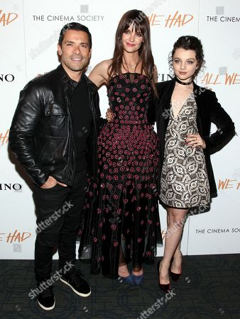 "Mark Consuelos, from left, Katie Holmes and Stefania Owen attend a special screening of ""All We Had"", hosted by The Cinema Society and Ruffino, at the Landmark Sunshine Cinema, in New York"