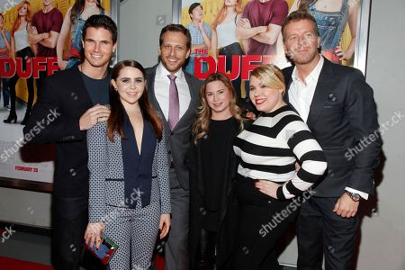 """Robbie Amell, from left, Mae Whitman, Ari Sandel, Mary Viola, Kody Keplinger and McG attend a special screening of """"The Duff"""" at AMC Loews Lincoln Square, in New York"""