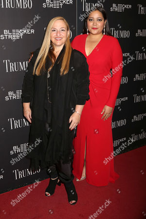"""Monica Levinson, left, and Shivani Rawat attend a special screening of """"Trumbo"""" at the Museum of Modern Art, in New York"""