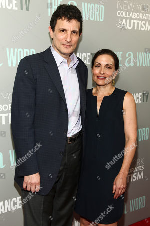 """David Remnick, left, and Esther Fein, right, attend a special screening of SundanceTV's """"The A Word"""" at the Museum of Arts and Design, in New York"""