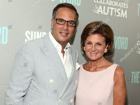 "Harry Slatkin, left, and Laura Slatkin, right, attend a special screening of SundanceTV's ""The A Word"" at the Museum of Arts and Design, in New York"